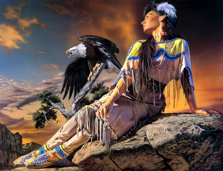 david e kucera, ragazza, squaw, eagle, art